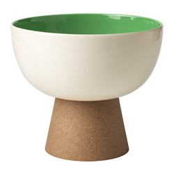TILLFÄLLE serving bowl with stand, cork, green Diameter: 24 cm Height: 18 cm