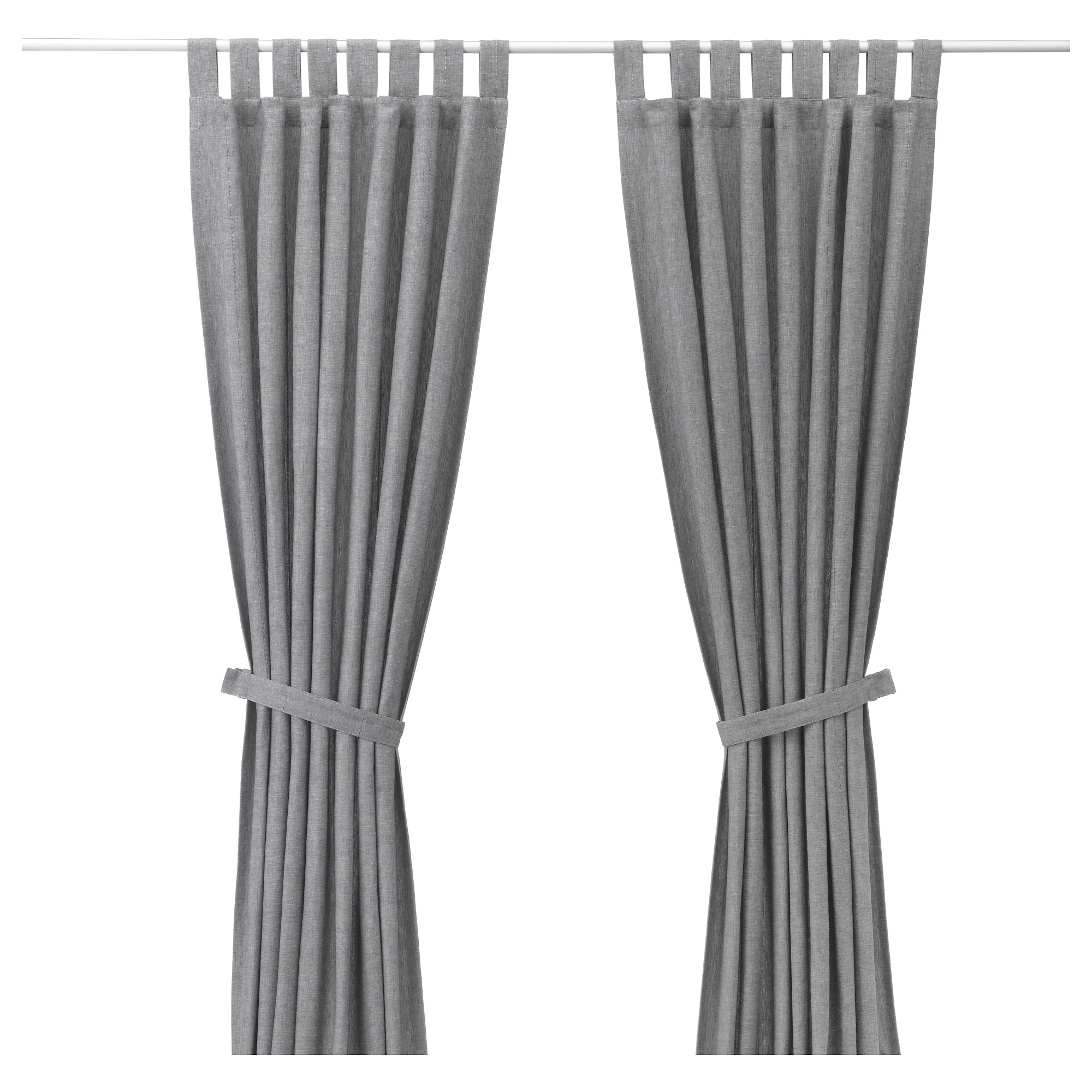 Black and white curtains bedroom - Lenda Curtains With Tie Backs 1 Pair Gray Length 98 Width
