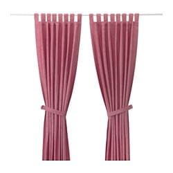 "LENDA curtains with tie-backs, 1 pair, light red Length: 118 "" Width: 55 "" Weight: 4 lb 10 oz Length: 300 cm Width: 140 cm Weight: 2.10 kg"