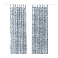 MJÖLKÖRT curtains, 1 pair, blue/white