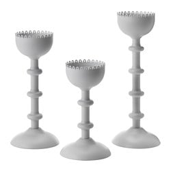 HÅRFIN candlestick/candleholder, set of 3, grey