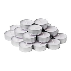 OMTALAD scented tealight, white, Silky musk Diameter: 38 mm Burning time: 3.5 hr Package quantity: 24 pack