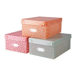 TJENIS storage box, assorted colours Length: 31 cm Width: 22 cm Height: 13 cm