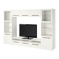 BESTÅ TV storage combination/glass doors, Marviken white clear glass Width: 300 cm Depth: 40 cm Height: 192 cm