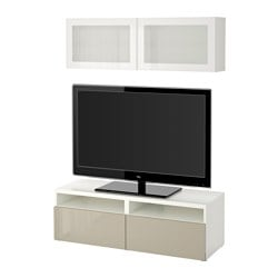 "BESTÅ TV storage combination/glass doors, white, Selsviken high gloss/beige frosted glass Width: 47 1/4 "" Height: 65 3/8 "" Min. depth: 7 7/8 "" Width: 120 cm Height: 166 cm Min. depth: 20 cm"