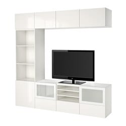 BESTÅ TV storage combination/glass doors, Selsviken high-gloss/white frosted glass, white Depth: 40 cm Height: 230 cm Width: 240 cm