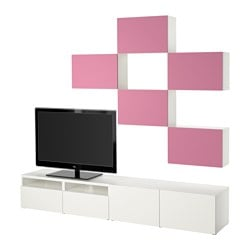 BESTÅ TV storage combination, Lappviken pink/white