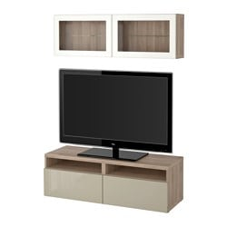 "BESTÅ TV storage combination/glass doors, Selsviken high gloss/beige clear glass, walnut effect light gray Width: 47 1/4 "" Min. depth: 7 7/8 "" Max. depth: 15 3/4 "" Width: 120 cm Min. depth: 20 cm Max. depth: 40 cm"