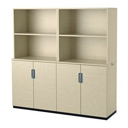 GALANT storage combination with doors, birch veneer Width: 160 cm Depth: 45 cm Height: 160 cm
