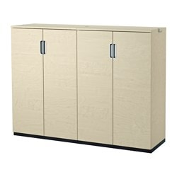 GALANT storage combination with doors, birch veneer Width: 160 cm Depth: 45 cm Height: 120 cm