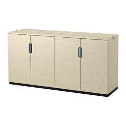 GALANT storage combination with doors, birch veneer Width: 160 cm Depth: 45 cm Height: 80 cm