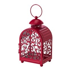 GOTTGÖRA lantern for candle in metal cup, in/outdoor red Height: 26 cm