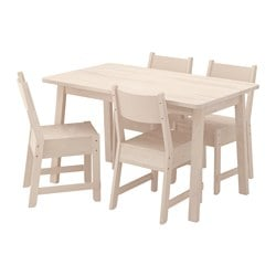 "NORRÅKER /  NORRÅKER table and 4 chairs, white birch, white birch Length: 49 1/4 "" Width: 29 1/8 "" Height: 29 1/8 "" Length: 125 cm Width: 74 cm Height: 74 cm"