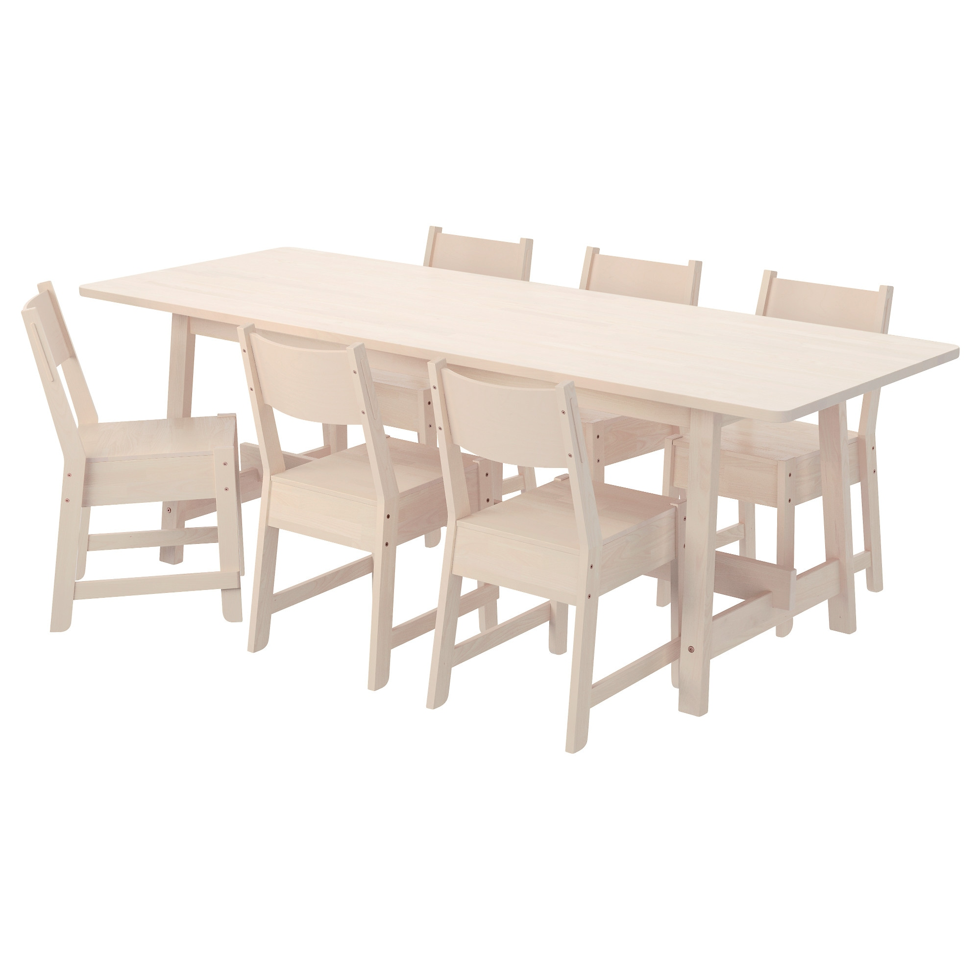 norrker norrker table and 6 chairs white birch white birch length 86