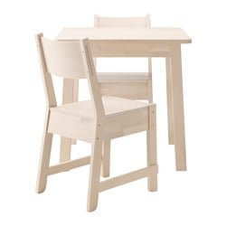 NORRÅKER / NORRÅKER, Table and 2 chairs, white birch, white birch