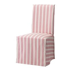 HENRIKSDAL chair cover, long, Mobacka red/beige