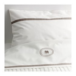 CHARMTROLL, Top sheet and pillowcase for cot, beige, white