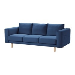 NORSBORG three-seat sofa, birch, Gräsbo dark blue Width: 213 cm Depth: 88 cm Free height under furniture: 18 cm