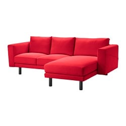 NORSBORG two-seat sofa with chaise longue, grey, Finnsta red Width: 231 cm Min. depth: 88 cm Max. depth: 157 cm