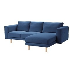 NORSBORG cover two-seat sofa w chaise longue, Gräsbo dark blue