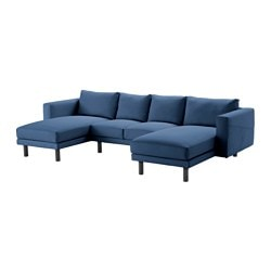 NORSBORG 2-seat sofa with 2 chaise longues, Edum dark blue, grey Width: 309 cm Min. depth: 88 cm Max. depth: 157 cm