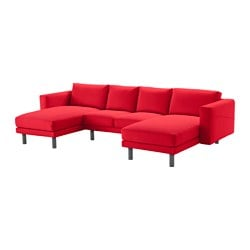 NORSBORG 2-seat sofa with 2 chaise longues, grey, Finnsta red Width: 309 cm Min. depth: 88 cm Max. depth: 157 cm
