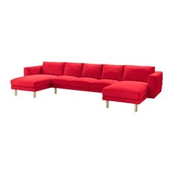 NORSBORG 3-seat sofa with 2 chaise longues, Finnsta red, birch Width: 369 cm Min. depth: 88 cm Max. depth: 157 cm