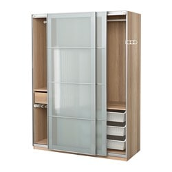 PAX wardrobe, white stained oak effect, Sekken frosted glass Width: 150.0 cm Depth: 66.0 cm Height: 201.2 cm