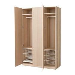 PAX wardrobe, white stained oak effect, Nexus white stained oak veneer Width: 150 cm Depth: 60 cm Height: 236.4 cm