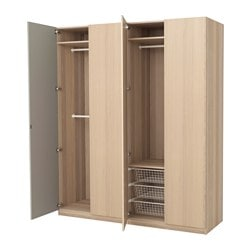 PAX wardrobe, white stained oak effect, Nexus Vikedal Width: 200.0 cm Depth: 60.0 cm Plinth, height: 236 cm