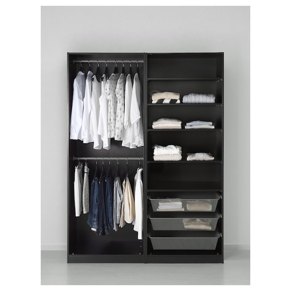 pax kleiderschrank schwarzbraun hasvik hochglanz wei ikea. Black Bedroom Furniture Sets. Home Design Ideas