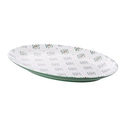 DUKNING serving plate, green, patterned Length: 35 cm Width: 25 cm Height: 3 cm