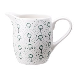 ENIGT milk/cream jug, green, off-white Height: 10 cm Volume: 28 cl