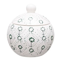ENIGT sugar bowl, green, off-white Diameter: 9 cm Height: 9 cm