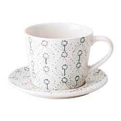 ENIGT teacup with saucer, green, off-white Saucer diameter: 15 cm Total height: 9 cm Cup height: 8 cm