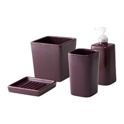 SEGEÅ 4-piece bathroom set, white, lilac