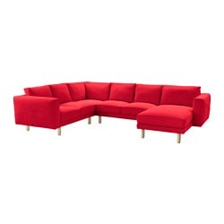 NORSBORG corner sofa 2+2 with chaise longue, birch, Finnsta red Depth chaise longue: 157 cm Depth: 88 cm Seat depth, chaise longue: 129 cm