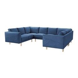 NORSBORG 8-seat sofa, U-shaped, Edum dark blue, birch Width: 297 cm Min. depth: 88 cm Max. depth: 225 cm
