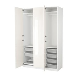PAX wardrobe, white, Fardal high-gloss/white