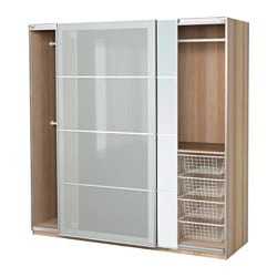 PAX wardrobe, white stained oak effect, Auli Sekken Width: 200 cm Depth: 66 cm Height: 201.2 cm