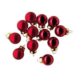 VINTER 2015 decoration, bauble, glass red Diameter: 2 cm Package quantity: 12 pack