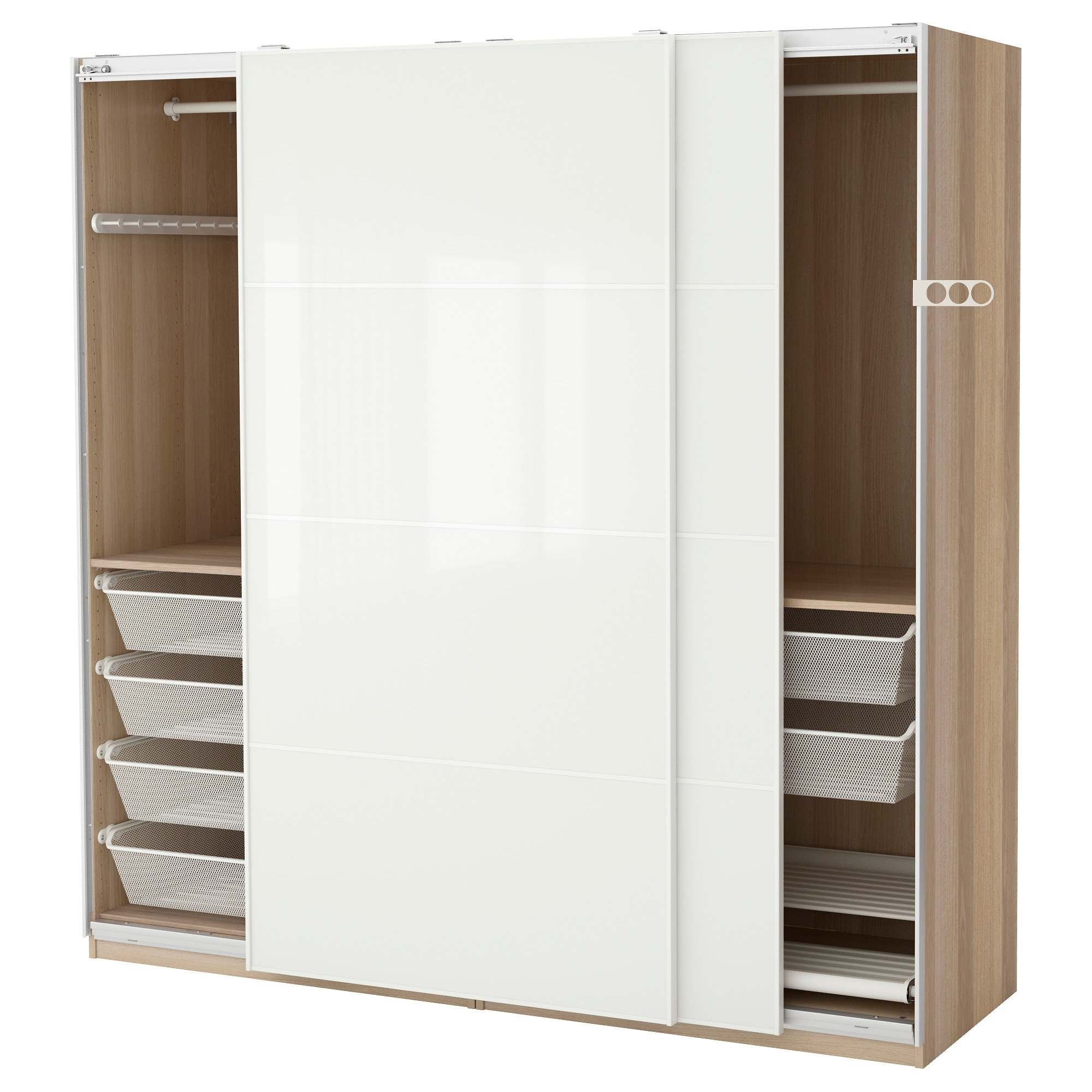 PAX wardrobe, white stained oak effect, Frvik white glass Width: 78 3/