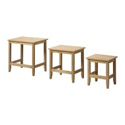 SKOGHALL nest of tables, set of 3, oak