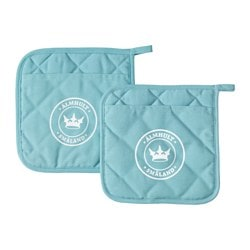 OMVÄXLANDE pot holder, turquoise Length: 21 cm Width: 21 cm Package quantity: 2 pack