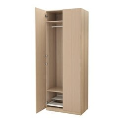 "PAX wardrobe, white stained oak effect, Nexus white stained oak veneer Width: 39 3/8 "" Depth: 23 5/8 "" Height: 93 1/8 "" Width: 100 cm Depth: 60 cm Height: 236.4 cm"
