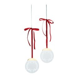 "STRÅLA LED hanging light decoration, lace battery operated Diameter: 4 "" Package quantity: 2 pack Diameter: 11 cm Package quantity: 2 pack"