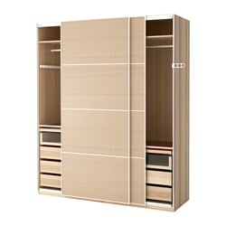 "PAX wardrobe, white stained oak effect, Ilseng white stained oak veneer Width: 78 3/4 "" Depth: 26 "" Height: 93 1/8 "" Width: 200 cm Depth: 66 cm Height: 236.4 cm"