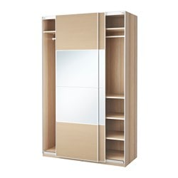 PAX wardrobe, Auli Ilseng, white stained oak effect Width: 150 cm Depth: 66 cm Height: 236.4 cm