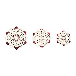 STRÅLA LED table decoration, set of 3, red battery operated, white Package quantity: 3 pack Package quantity: 3 pack