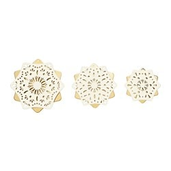 STRÅLA LED table decoration, set of 3, gold-colour battery operated, white Package quantity: 3 pack Package quantity: 3 pack
